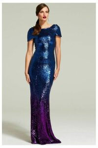 Womens HotSquash Purple Cowl Back Sequined Fishtail Maxi Dress -  Purple