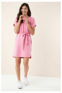 Womens Next Pink Linen T-Shirt Dress -  Pink