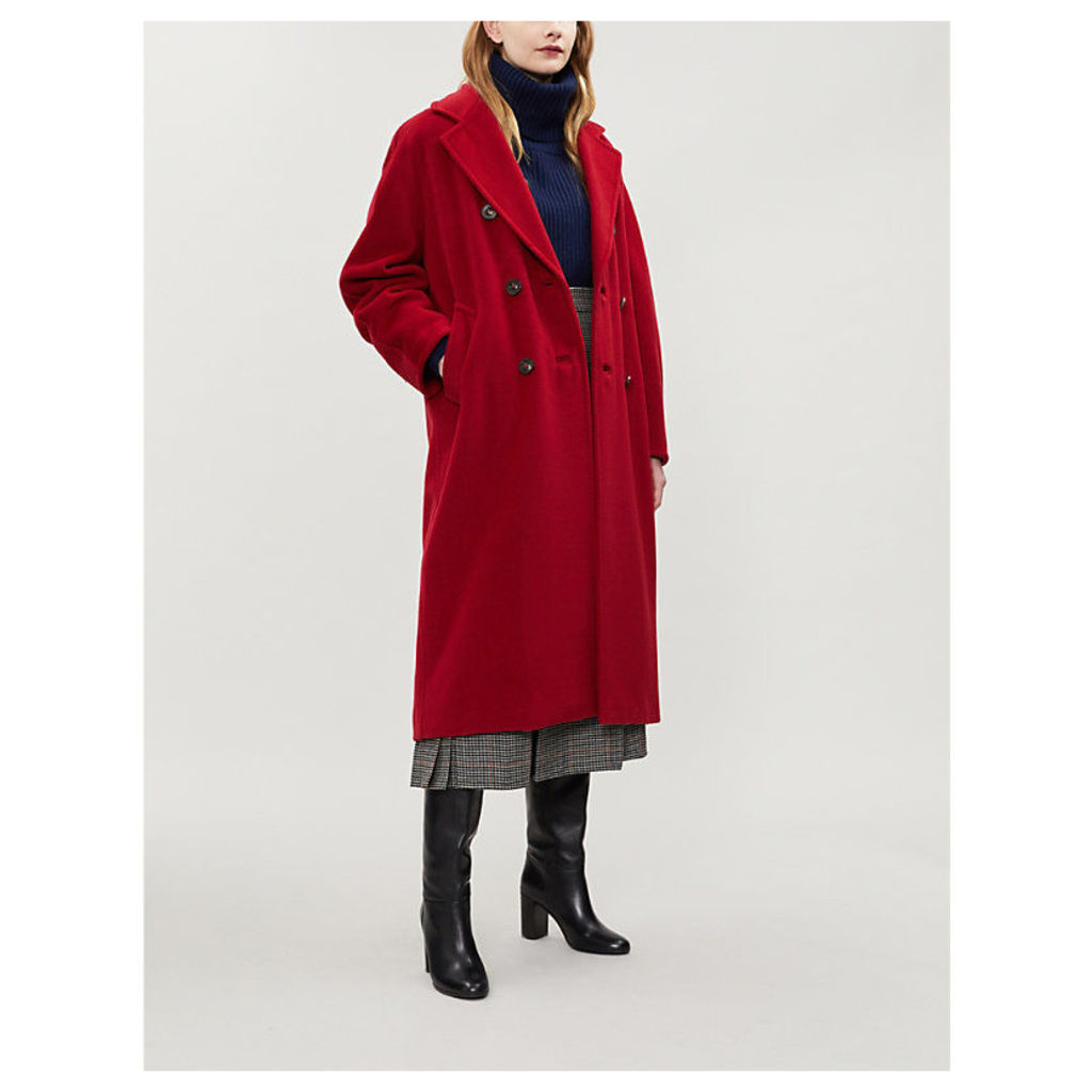 Max Mara Women's Red Madame Double-Breasted Wool and Cashmere-Blend Coat