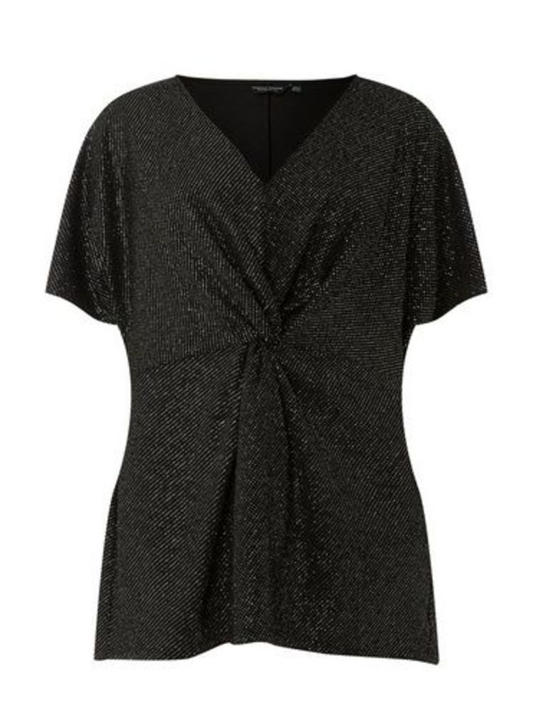 Womens **Dp Curve Black And Silver Knot Front Top- Black, Black