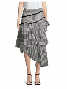 Hailey Striped Asymmetrical Midi Skirt