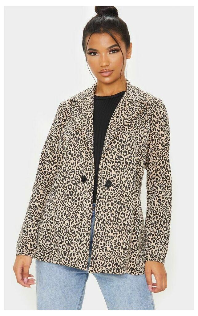 Brown Leopard Boyfriend Blazer, Medium Brown