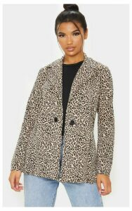 Brown Leopard Boyfriend Blazer, Medium Brown