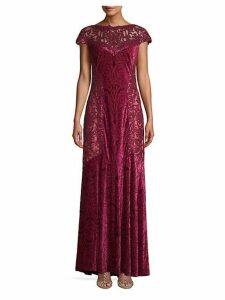 Sequin Printed Velvet Column Gown