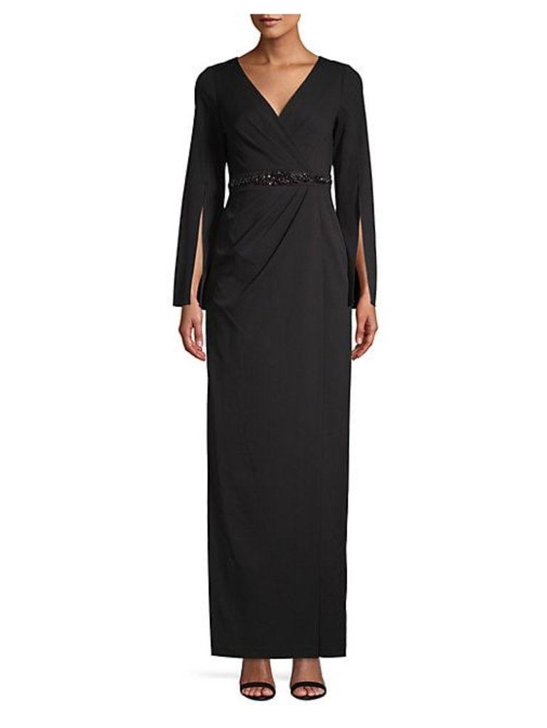 Split Sleeve Embellished Long Dress