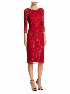 Three-Quarter Sleeve Beaded Dress