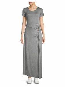 Asymmetrical Short-Sleeve Maxi Dress