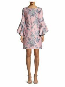 Freya Floral Bell-Sleeve Shift Dress