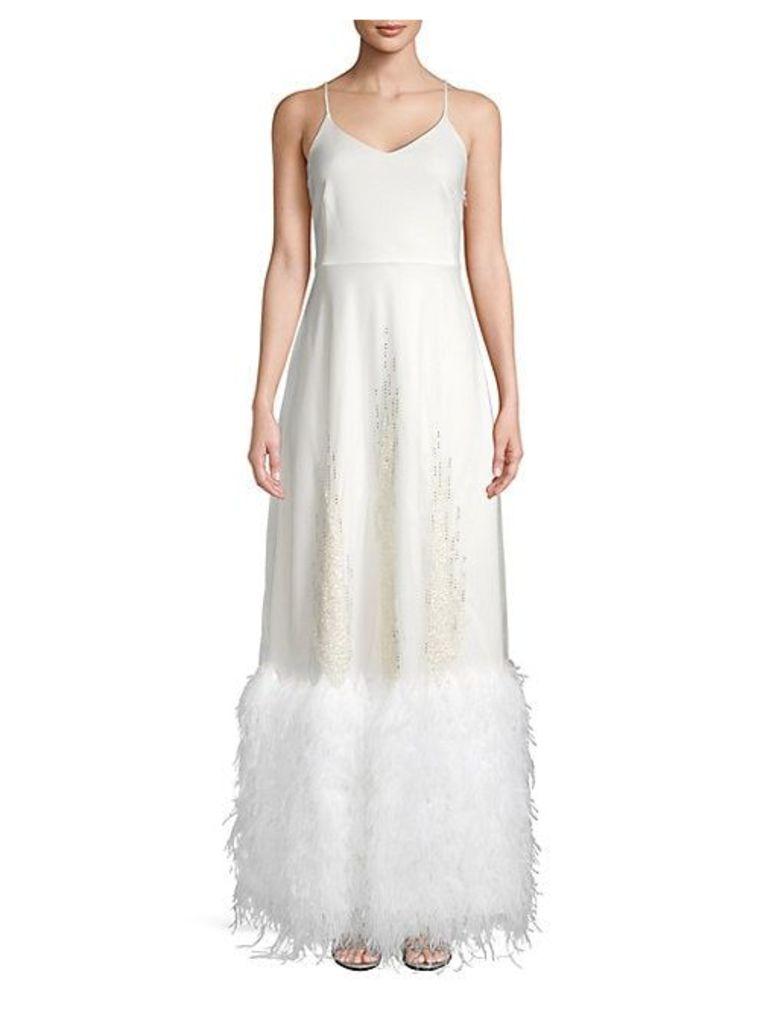Embellished Feather-Hem Long Dress