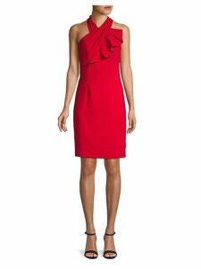 Crossover Halterneck Sheath Dress