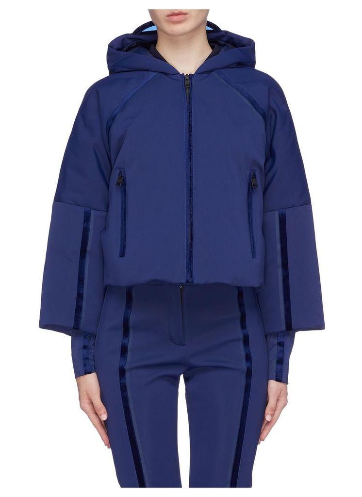 Logo patch stripe hooded ski down jacket