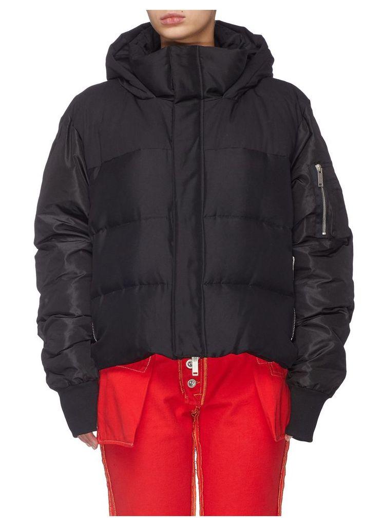 Silk habotai hooded down puffer jacket