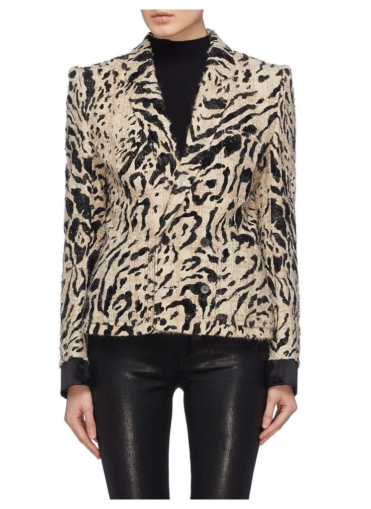 Leopard print double breasted cropped tweed jacket