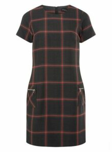 Womens Grey And Red Checked Shift Dress- Grey, Grey