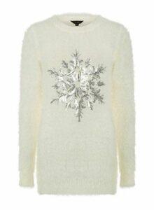 Womens Ivory Fluffy Snowflake Jumper- White, White