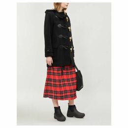 Burberry Womens Black Check Merton Wool-Blend Duffle Coat