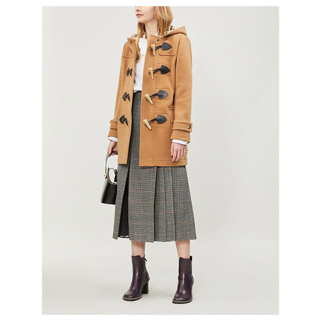 Burberry Womens Camel Brown Check Merton Wool-Blend Duffle Coat