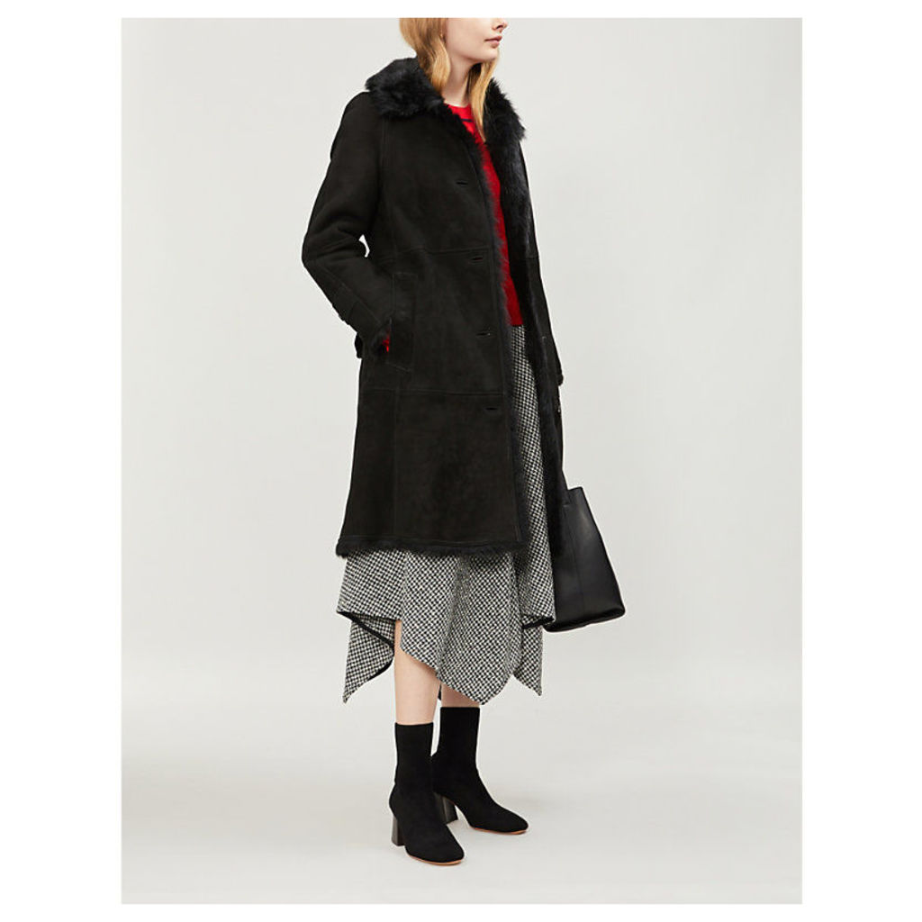 Burberry Womens Black Check Thestford Belted Shearling Coat