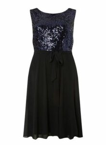 Womens **Billie & Blossom Curve Navy Sequin Bodice Skater Dress- Navy, Navy