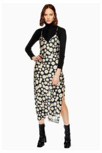 Womens Petite Daisy Cowl Slip Dress - Black, Black