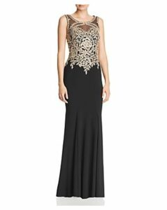Avery G Embroidered Bodice Gown