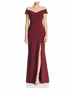 Aqua Off-the-Shoulder Pleat-Detail Gown - 100% Exclusive