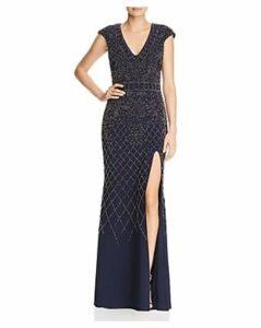 Avery G Beaded Cap-Sleeve Gown