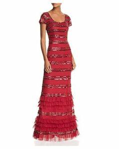 Aidan Mattox Embellished Ruffle Gown