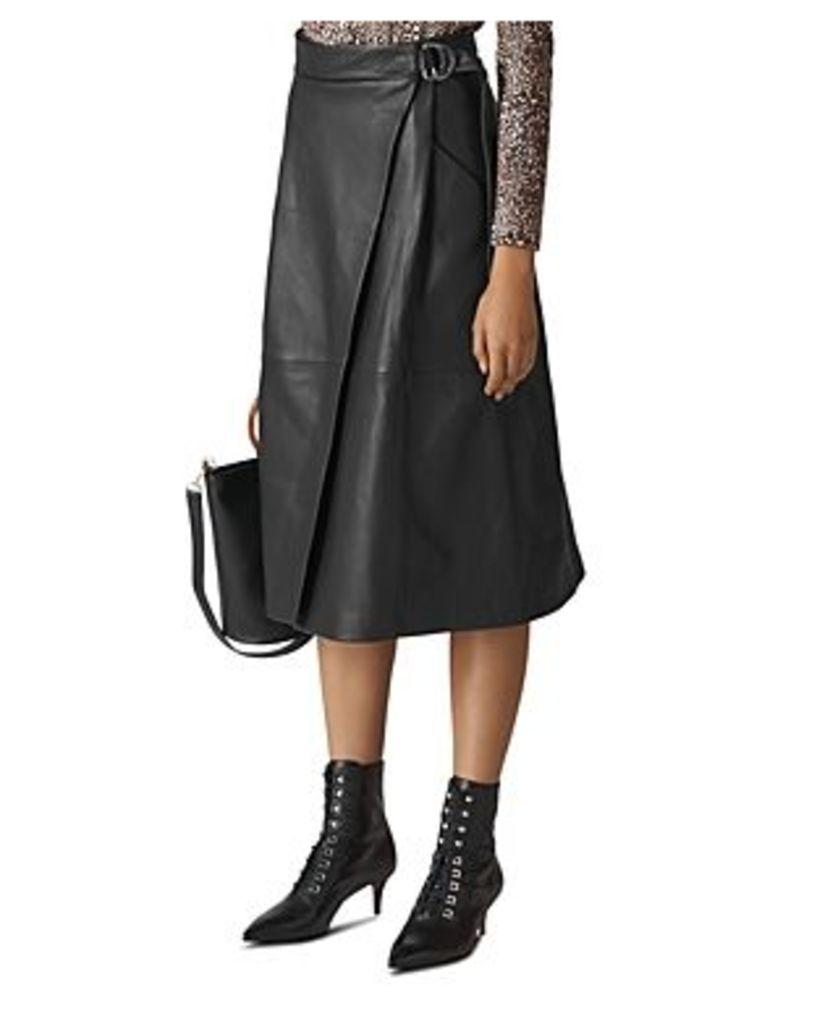 Whistles Leather Wrap Midi Skirt