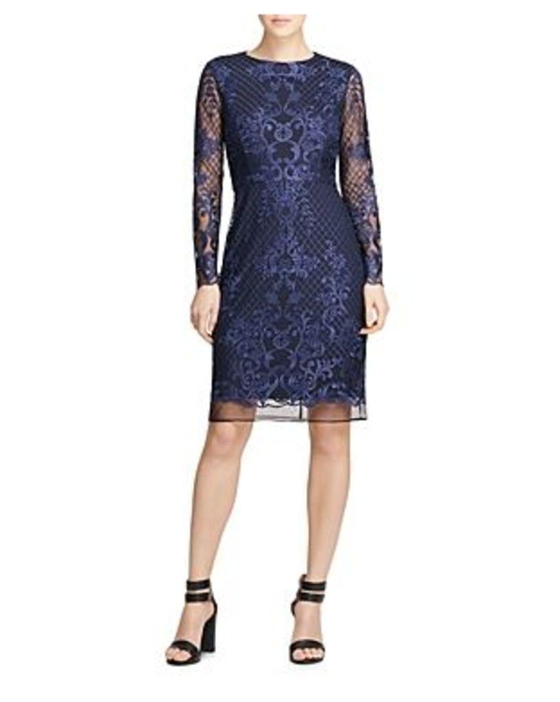 Donna Karan Embroidered Mesh Dress