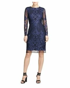 Donna Karan Embroidered Mesh Dress