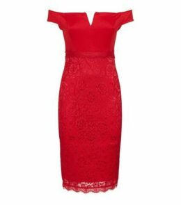AX Paris Red Notch Neck Satin and Lace Dress New Look