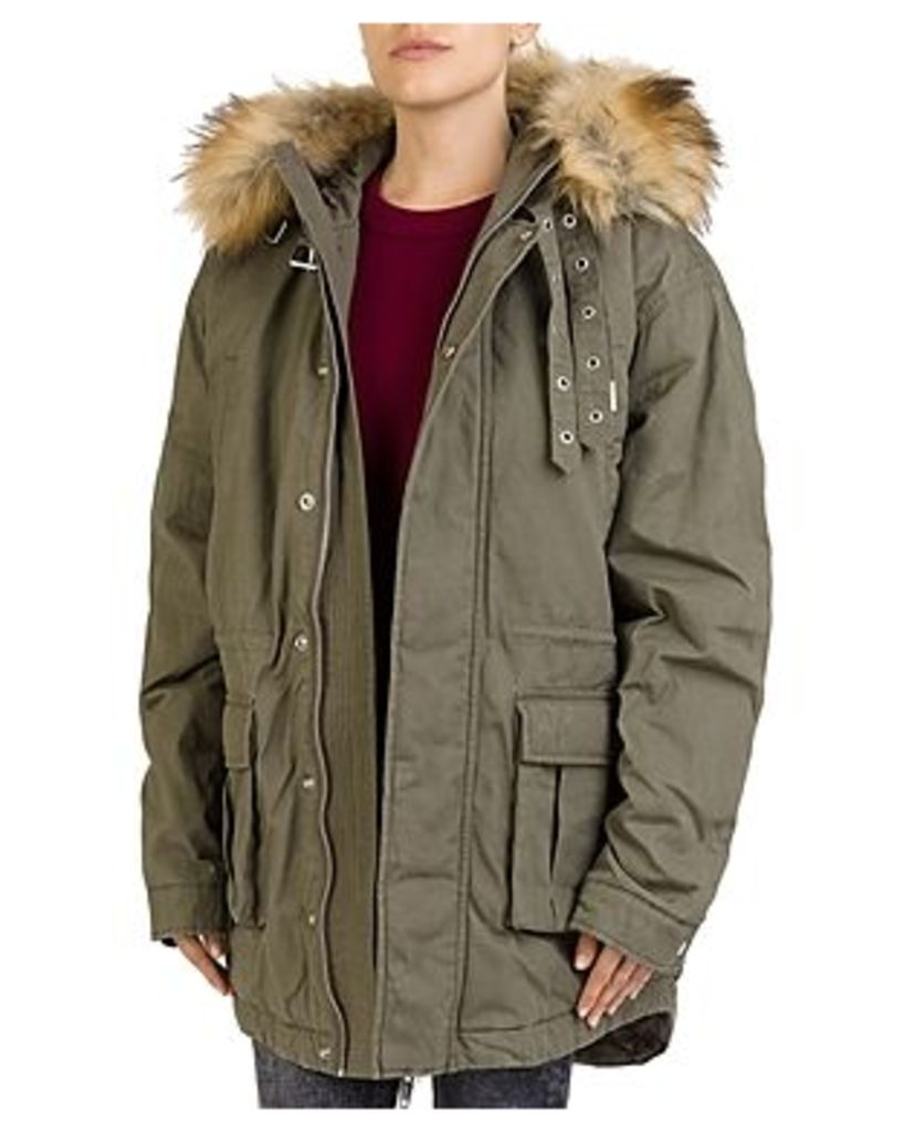 The Kooples Faux-Fur-Trim Hooded Parka