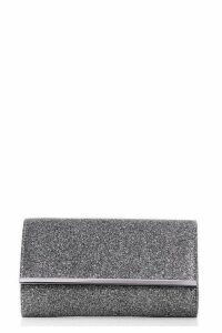 Quiz Grey Glitter Clutch Bag