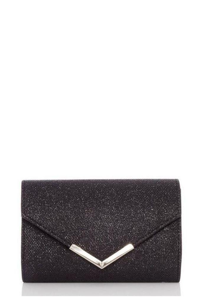 Quiz Black Shimmer Envelope Bag