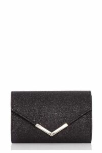 Quiz Black Shimmer Envelope Bag