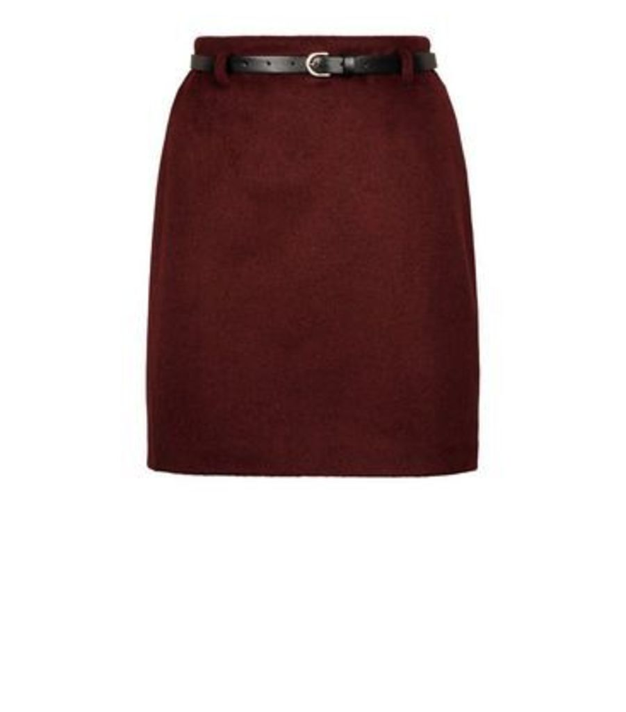 Burgundy Belted Brushed Twill A-Line Skirt New Look