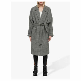 AllSaints Lara Check Coat, Black/White