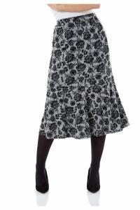 Fluted Hem Floral Skirt