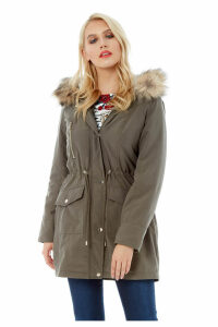 Faux Fur Parka Coat
