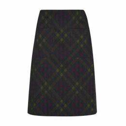 Olive Check ALine Skirt