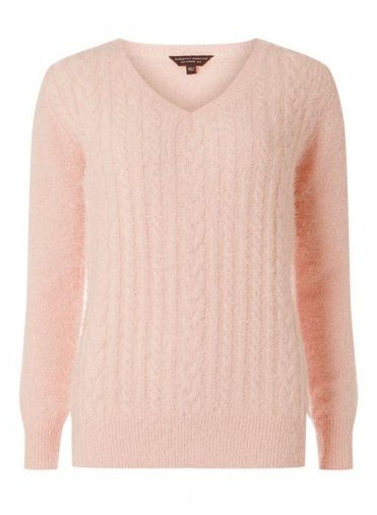 Womens Blush Fluffy V-Neck Jumper- Pink, Pink
