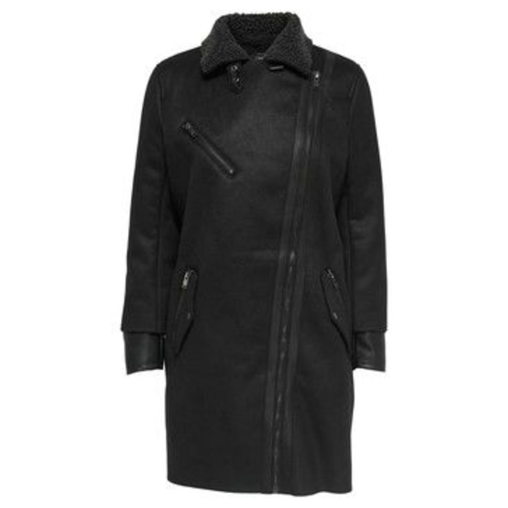 Only  ABRIGO  onlSANTANA FAUX SUEDE BONDED COAT OTW  women's Coat in Black