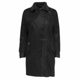 Only  ABRIGO  onlSANTANA FAUX SUEDE BONDED COAT OTW  women's Coat in Black