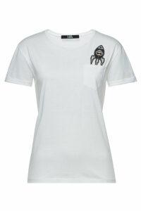 Karl Lagerfeld Space Karl Embellished Cotton T-Shirt