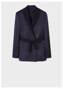Women's Navy Satin Wrap Tuxedo Blazer