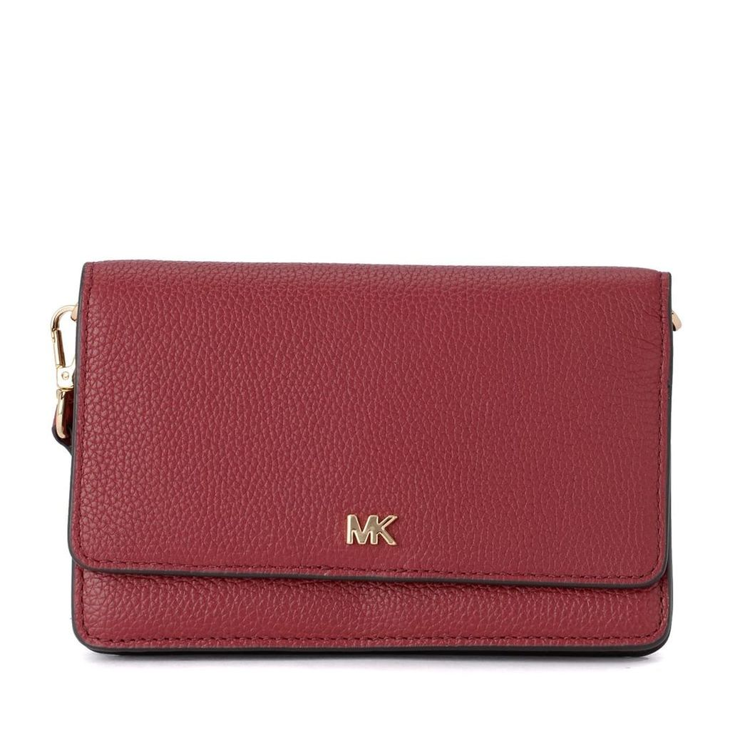 Michael Kors Mercer Red Leather Pochette With Shoulder Strap