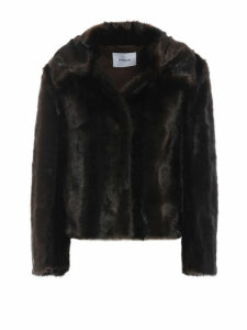 Dondup Soft Faux Fur Jacket With Pointy Collar