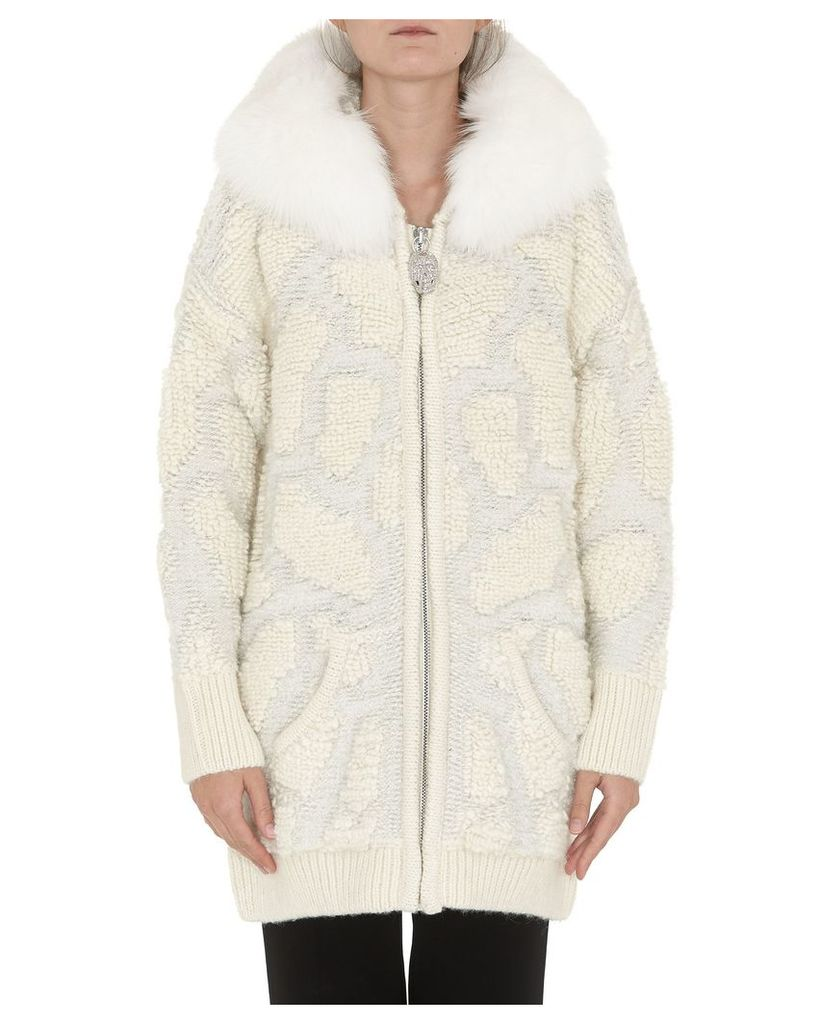 Philipp Plein Knit Jacket With Fur Trimmed Hood
