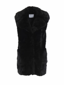 Dondup Black Faux Fur Sleeveless Short Coat